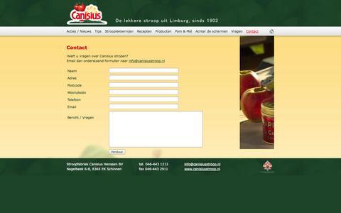 Screenshot of Contact Page canisiusstroop.nl - Canisius stroop, de lekkere stroop uit Limburg - Contact - captured Nov. 5, 2014
