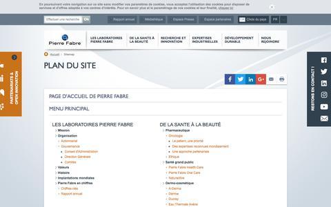 Screenshot of Site Map Page pierre-fabre.com - Plan du site | Pierre Fabre - captured Aug. 2, 2017