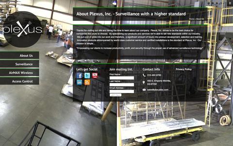 Screenshot of About Page plexustec.com - About Plexus, Inc. - Surveillance with a higher standardplexustec.com - captured Jan. 29, 2016