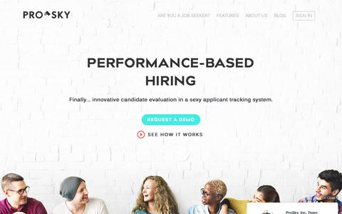 Screenshot of Home Page prosky.co - ProSky • Talent Management | Evaluation | Hiring - All-In-One - captured Aug. 4, 2016