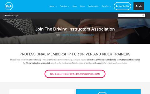 Screenshot of Signup Page driving.org - Join - We have our members in mind | Driving Instructors Association - captured Feb. 18, 2020