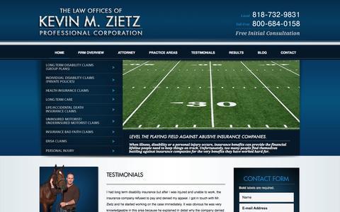 Screenshot of Testimonials Page zietzlaw.com - Testimonials | Kevin M. Zietz, Law Offices | Los Angeles, California - captured Oct. 2, 2014