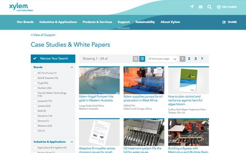 Screenshot of Case Studies Page xylem.com - Case Studies for Water and Wastewater Solutions   Xylem US - captured July 28, 2019
