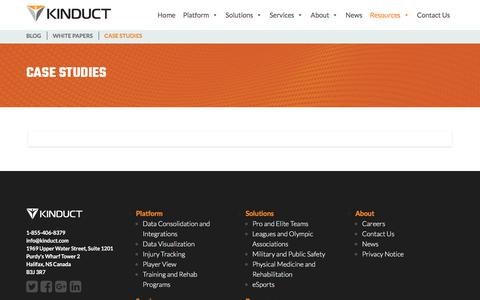 Screenshot of Case Studies Page kinduct.com - Case Studies Reources - Kinduct Athlete Management System   Kinduct - captured Jan. 27, 2020