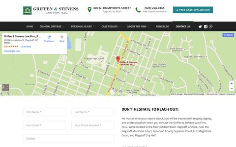 Screenshot of Contact Page flagstaff-lawyer.com - Contact Us - Flagstaff Lawyers | Flagstaff Criminal & DUI Attorneys | (928) 226-0165 - captured Feb. 16, 2016
