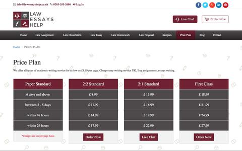 Screenshot of Pricing Page lawessayshelp.co.uk - Law Essays Help  UK Law Essay Writing Services – Law Essays Help - captured July 11, 2016