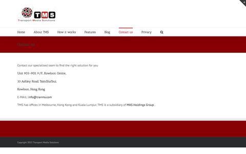 Screenshot of Contact Page tranms.com - Contact us   Transport Media Solutions - captured Dec. 3, 2016