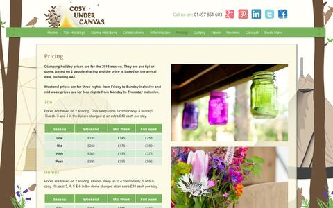 Screenshot of Pricing Page cosyundercanvas.co.uk - Pricing - Cosy Under Canvas - captured Sept. 30, 2014