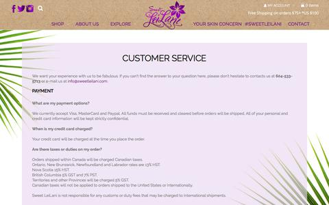 Screenshot of Privacy Page Support Page sweetleilani.com - Customer Service - Sweet LeiLani - captured Oct. 24, 2017