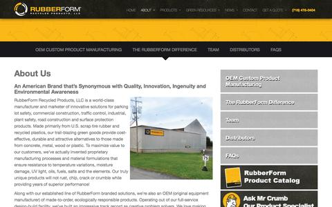 Screenshot of About Page rubberform.com - About RubberForm | RubberForm Recycled Products, LLC - captured Jan. 25, 2016