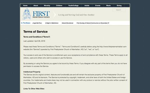Screenshot of Terms Page firstpresmanhattan.com - Terms of Service   FirstPresManhattan.com - captured Nov. 25, 2016
