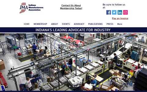 Screenshot of Home Page imaweb.com - Indiana Manufacturers Association | Indianapolis | Manufacturing - captured Oct. 11, 2018