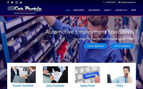 Screenshot of Home Page carpeople.com - Car People Agency – Automotive Jobs Agency - captured Sept. 26, 2018
