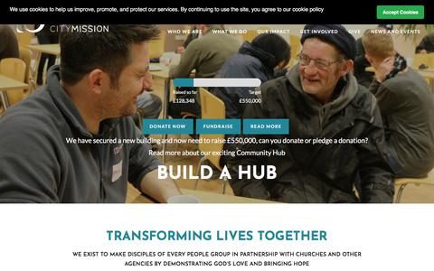 Screenshot of Home Page derbycitymission.org.uk - Derby City Mission | Home - captured Aug. 6, 2018
