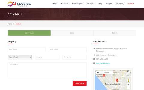 Screenshot of Contact Page neovibe.in - Contact   Web Design Development   Mobile App Development Trivandrum - captured Oct. 20, 2017