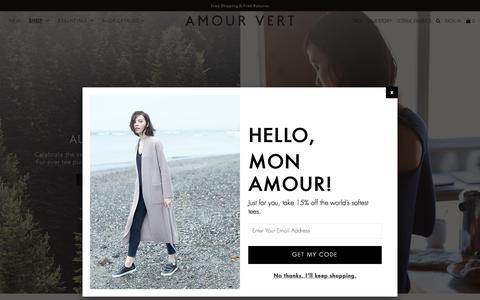 Screenshot of Home Page Blog amourvert.com - Amour Vert is sustainable fashion made in the USA - captured Nov. 8, 2016