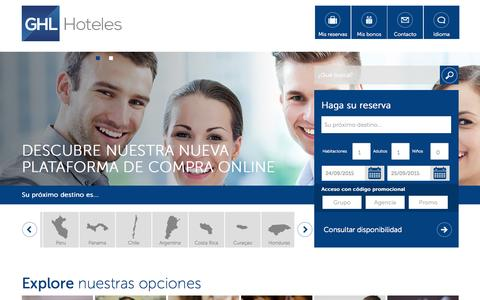 Screenshot of Home Page ghlhoteles.com - GHL Hoteles Colombia - captured Sept. 24, 2015
