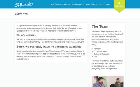 Screenshot of Jobs Page signable.co.uk - Careers - Signable - captured April 17, 2018