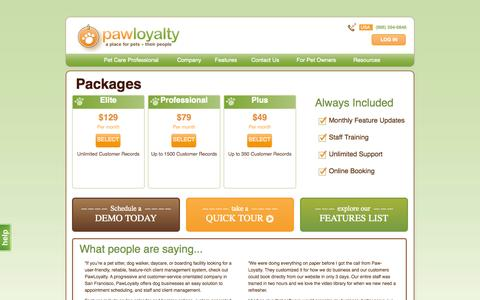 Screenshot of Pricing Page pawloyalty.com - Groomer Software. Dog Software. Pet Portal: Pricing - captured Sept. 30, 2014