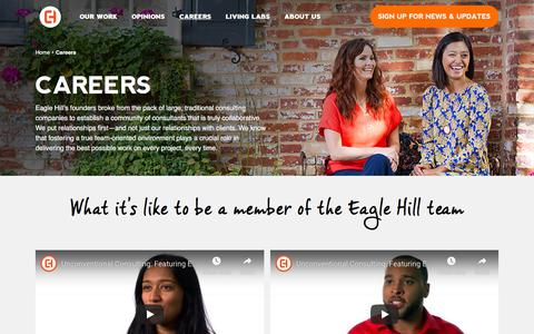Screenshot of Jobs Page eaglehillconsulting.com - Careers | Eagle Hill Consulting - captured July 19, 2019