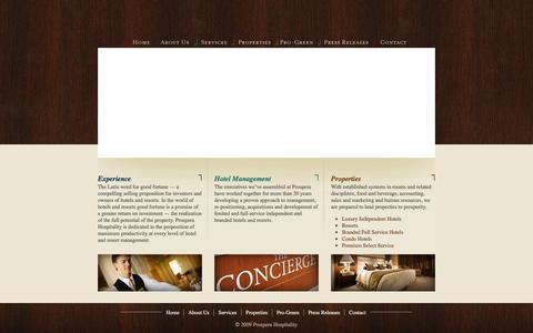 Screenshot of Home Page prosperahospitality.com - Prospera Hospitality | Hotel & Resort Management | Asset Management | Property Management - captured Sept. 30, 2014