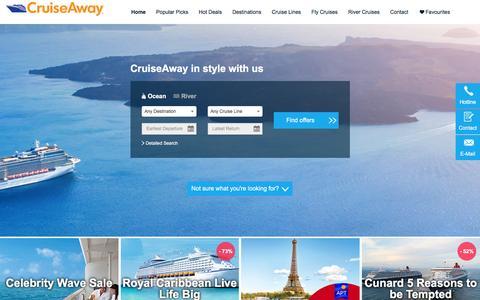 Screenshot of Home Page cruiseaway.com.au - Best Cruise Deals & Fly Cruise Specials - Cruiseaway.com.au - captured Jan. 14, 2016
