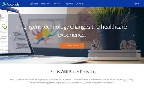 Screenshot of Home Page accolade.com - Accolade Home - Accolade - captured March 17, 2018