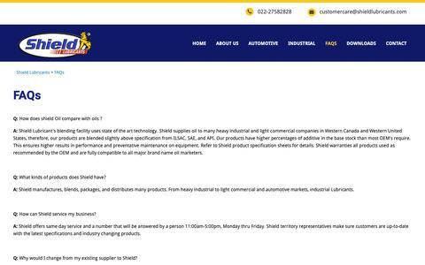 Screenshot of FAQ Page shieldlubricants.com - FAQs – Shield Lubricants - captured Oct. 20, 2018