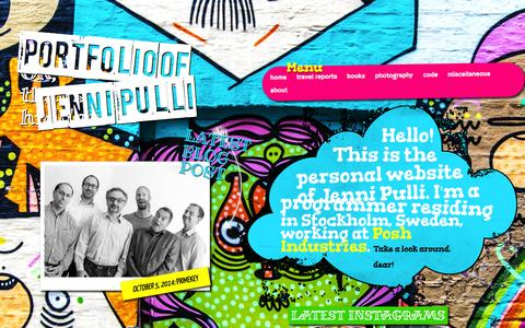 Screenshot of Home Page jennipulli.se - Jenni Pulli | Start - captured Oct. 6, 2014