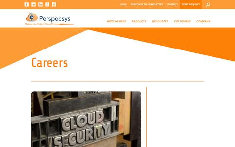 Screenshot of Jobs Page perspecsys.com - Cloud Data Security Careers, Cloud Residency Jobs | PerspecSss - captured Oct. 22, 2014