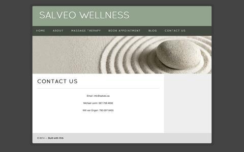 Screenshot of Contact Page salveo.ca - Salveo Wellness  | Contact Us - captured Oct. 3, 2014
