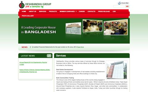 Screenshot of Services Page dbg.com.bd - Deshbandhu Group - captured Oct. 5, 2014