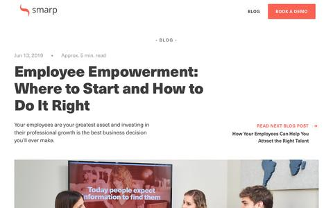 Screenshot of Blog smarp.com - Employee Empowerment: Where to Start and How to Do It Right - captured Nov. 4, 2019