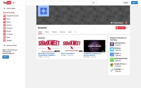 Screenshot of YouTube Page youtube.com - itmartini  - YouTube - captured Oct. 23, 2014