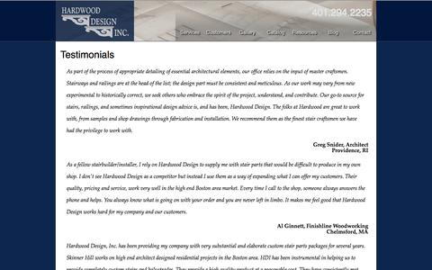 Screenshot of Testimonials Page hdistair.com - Hardwood Design - Testimonials - captured Oct. 2, 2014