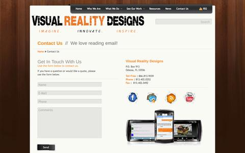 Screenshot of Contact Page visualrealitydesigns.com - Contact Us | Visual Reality Designs - captured Oct. 26, 2014