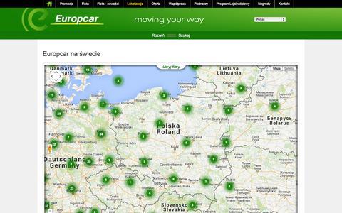 Screenshot of Locations Page europcar.com.pl - Wypożyczalnia samochodów w Polsce | Europcar - captured Nov. 2, 2014