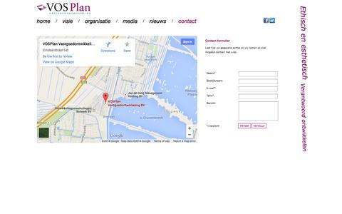 Screenshot of Contact Page vosplan.nl - Vosplan vastgoed ontwikkeling  Ethisch en esthetisch verantwoord ontwikkelen - captured Oct. 26, 2014