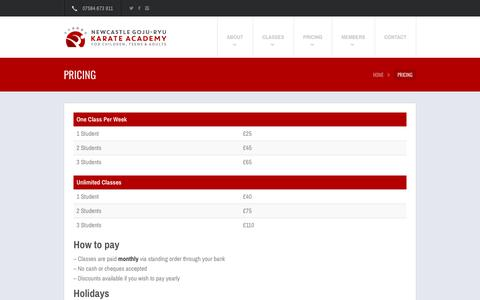 Screenshot of Pricing Page karate-newcastle.co.uk - Pricing | Newcastle Goju-Ryu Karate Academy - captured Oct. 19, 2018