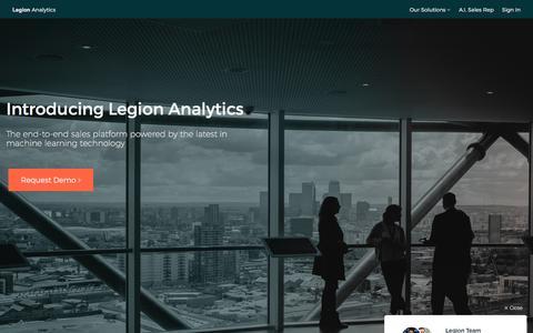 Screenshot of Home Page legionanalytics.com - End to End Sales Platform - Legion Analytics - captured July 12, 2016