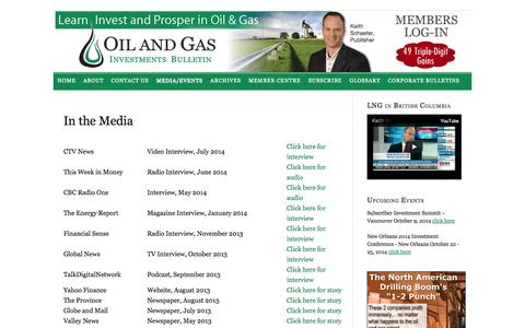 Screenshot of Press Page oilandgas-investments.com - In the Media - captured Sept. 19, 2014