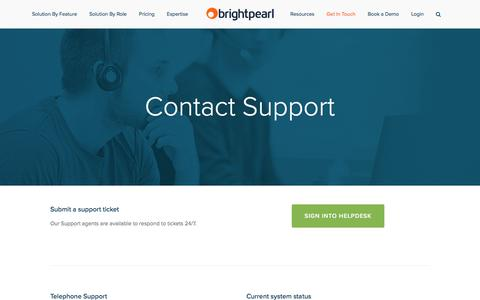 Screenshot of Support Page brightpearl.com - Support - Brightpearl - captured Sept. 22, 2016