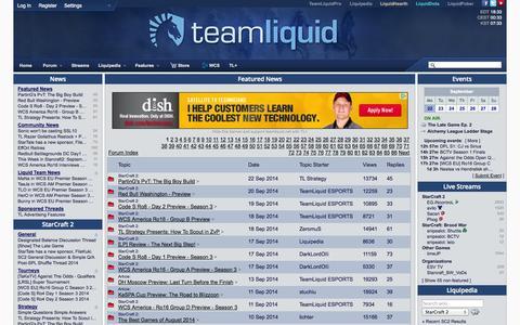 Screenshot of Press Page teamliquid.net - Featured News - captured Sept. 18, 2014