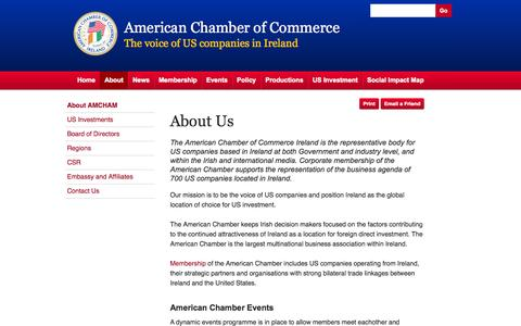 Screenshot of About Page amcham.ie - About Us - American Chamber of Commerce Ireland - captured Oct. 4, 2014