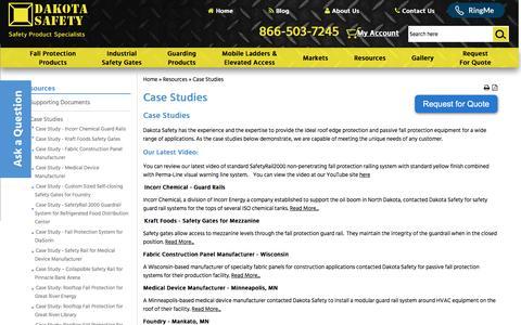 Screenshot of Case Studies Page dakotasafety.com - Case Studies   Dakota Safety - captured July 31, 2016