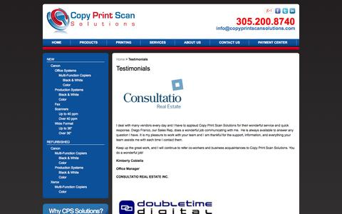Screenshot of Testimonials Page copyprintscansolutions.com - Testimonials - captured Oct. 5, 2014