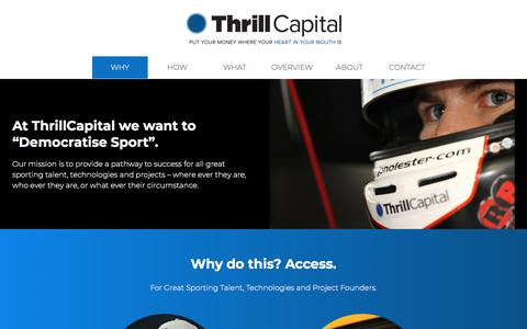 Screenshot of Home Page thrillcapital.com - WHY | Thrill Capital - captured Sept. 21, 2018