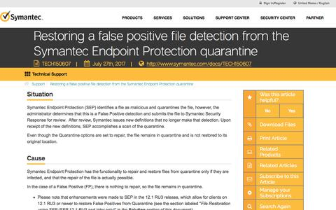Restoring a false positive file detection from the Symantec Endpoint Protection quarantine