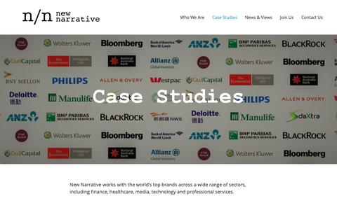 Screenshot of Case Studies Page new-narrative.com - Case Studies | New-Narrative:  Content Marketing | Thought Leadership | Media | Strategy - captured Oct. 18, 2018