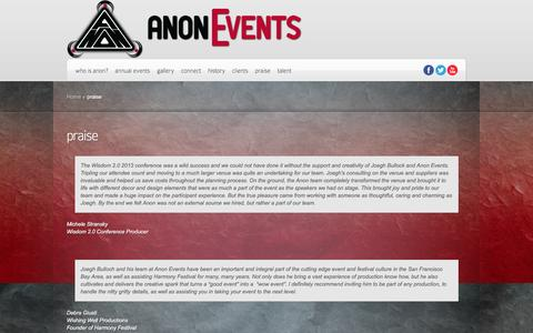 Screenshot of Testimonials Page anonevents.com - praise | Anon Events - captured Dec. 28, 2015